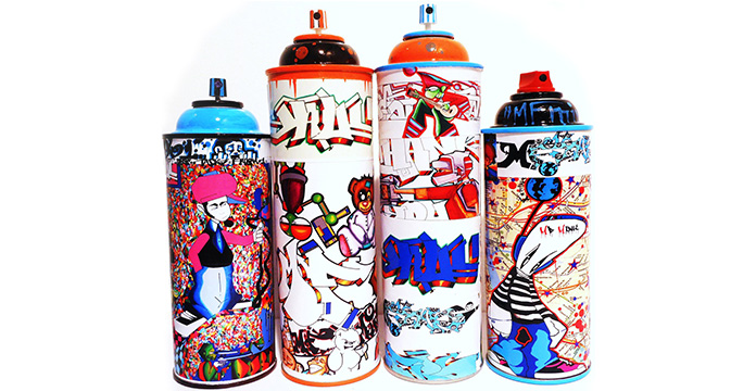 Graffiti spray paint cans