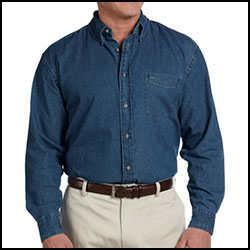 Custom Harriton Long Sleeve Denim Button Down
